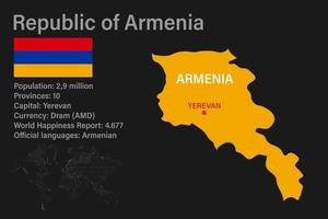 Highly detailed Armenia map with flag, capital and small map of the world vector