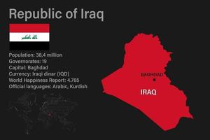 Highly detailed Iraq map with flag, capital and small map of the world vector