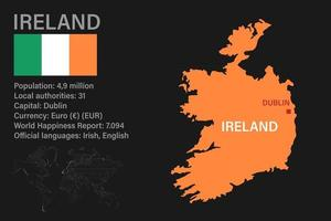 Highly detailed Ireland map with flag, capital and small map of the world vector