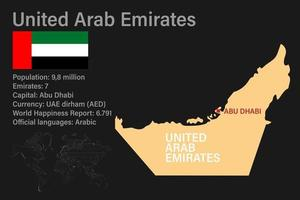 Highly detailed United Arab Emirates map with flag, capital and small map of the world vector