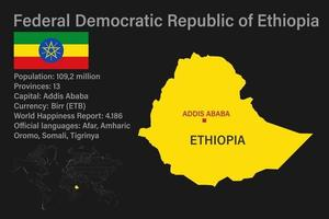 Highly detailed Ethiopia map with flag, capital and small map of the world vector