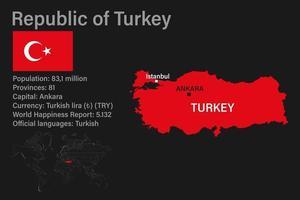 mapa de turquía muy detallado con bandera, capital y mapa pequeño del mundo vector