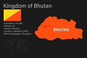 Highly detailed Bhutan map with flag, capital and small map of the world vector
