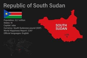 Sudán del sur mapa muy detallado con bandera, capital y pequeño mapa del mundo vector