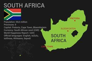 Mapa de Sudáfrica muy detallado con bandera, capital y pequeño mapa del mundo vector