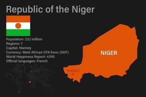 Highly detailed Niger map with flag, capital and small map of the world vector