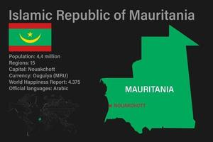 Highly detailed Mauritaniamap with flag, capital and small map of the world vector
