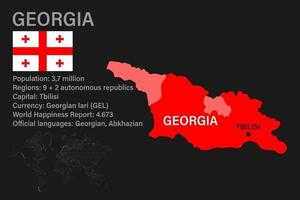Highly detailed Georgia map with flag, capital and small map of the world vector