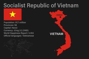 Highly detailed Vietnam map with flag, capital and small map of the world vector