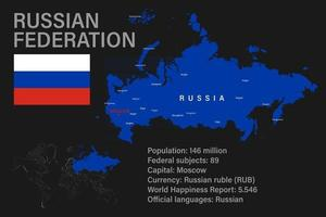 Highly detailed Russian Federation map with flag, capital and small map of the world vector