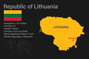 Highly detailed Republic of Lithuania map with flag, capital and small map of the world vector