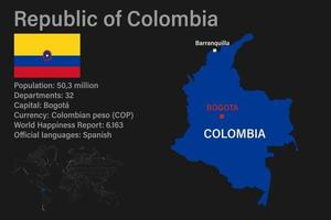 Highly detailed Colombia map with flag, capital and small map of the world vector