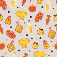 Seamless pattern with kitchen accessories. vector