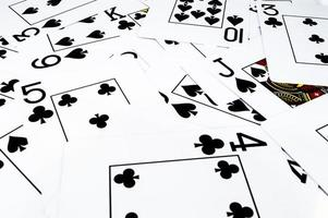 Black playing cards in chaos photo