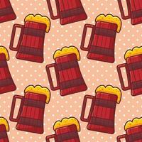 wooden tankard with beer seamless pattern vector illustration