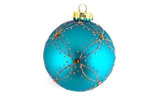 Turquoise Christmas ball isolated on white background photo
