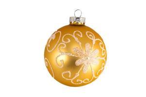 Yellow Christmas ball isolated on white background photo