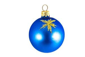 Blue Christmas ball isolated on white background photo