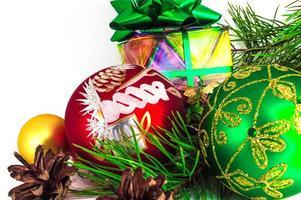 Christmas ballsisolated on white background photo