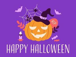 Pumpkin in a hat, bats, a spider with a web, a candle and candy. vector