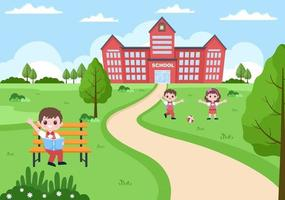 Back To School, Modern Building and Some Children Are Playing vector