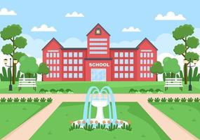 Back To School, Modern Building and View Front Yard With Green Grass vector