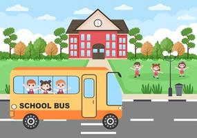 Back To School, Modern Building and Bus in the Front Yard vector
