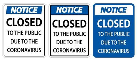 Notice Closed to public sign on white background vector