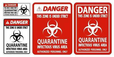Danger Quarantine Infectious Virus Area Sign vector