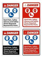 Hard Hats, Safety Glasses And Safety Shoes Required vector