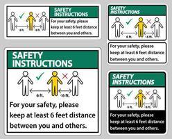 las instrucciones de seguridad mantienen una distancia de 6 pies vector