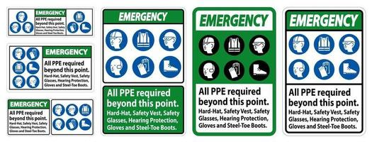 Emergency PPE Required Beyond This Point vector