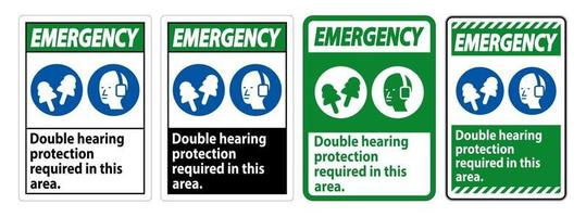 Double Hearing Protection Ear Muffs or Ear Plugs vector