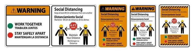 Warning Bilingual Social Distancing Construction Sign vector