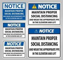 Notice Maintain Proper Social Distancing vector