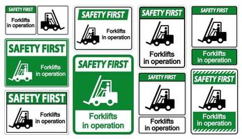 Safety First forklifts in operation vector