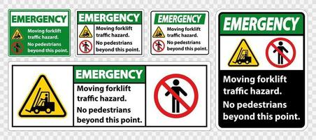 Moving forklift traffic hazard,No pedestrians beyond this point vector