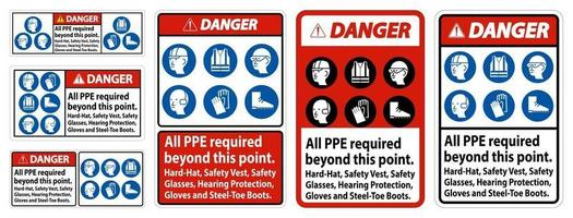 Danger PPE Required Beyond This Point vector