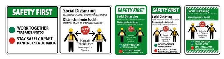 Safety First Bilingual Social Distancing Construction Sign vector