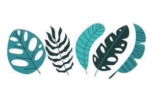 Set of tropical leaves. Flat design. vector