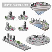 un gran conjunto de mapas isométricos de la ciudad con muchos edificios, rascacielos, carreteras y fábricas vector