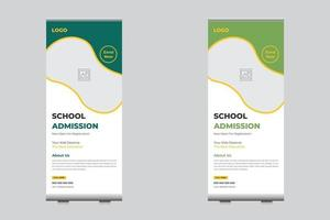 Admission roll up banner for school, college, university template vector