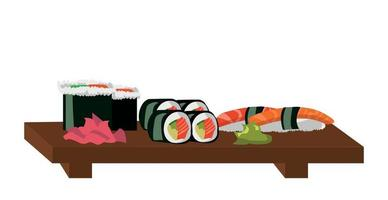 Set for rolls and sushi, the national Japanese dish - Vector