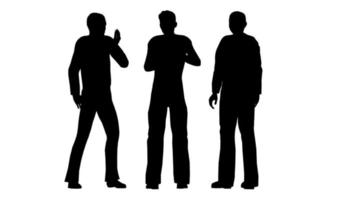 Silhouettes of three people. They stand and communicate. video