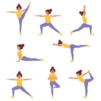 Woman doing yoga. Set of yoga poses. Healthy lifestyle, wellbeing vector