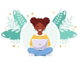 African american girl studying with computer. Online learning vector