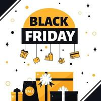 Black friday banner. Gifts and purchases vector