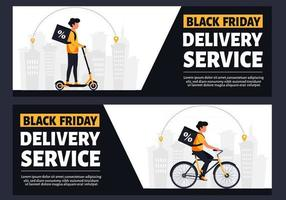 Black friday delivery service by bike and scooter vector