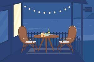 Romantic night at cafe flat color vector illustration
