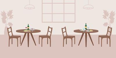 Empty cafe flat color vector illustration